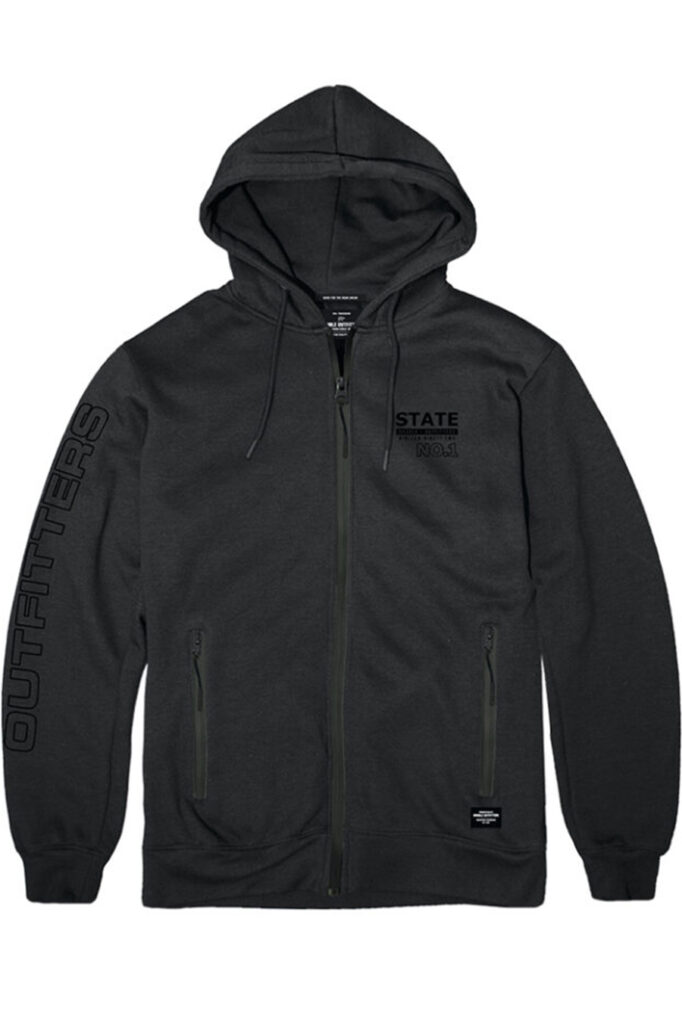 DOUBLE OUTFITTERS Full Zip Hoodie Black