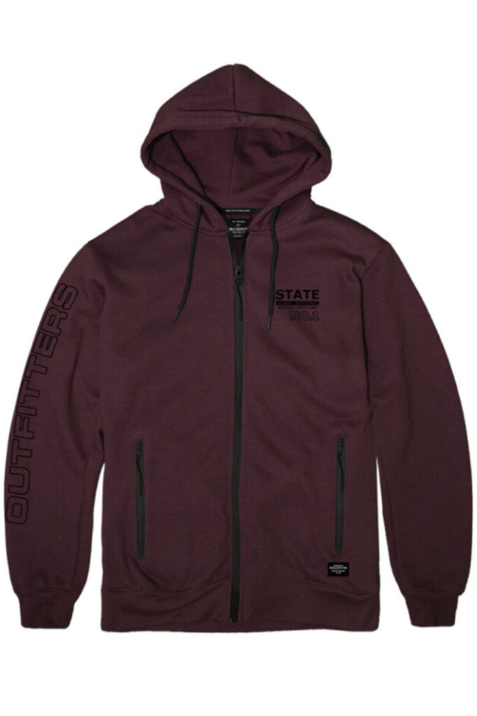 DOUBLE OUTFITTERS Full Zip Hoodie Wine