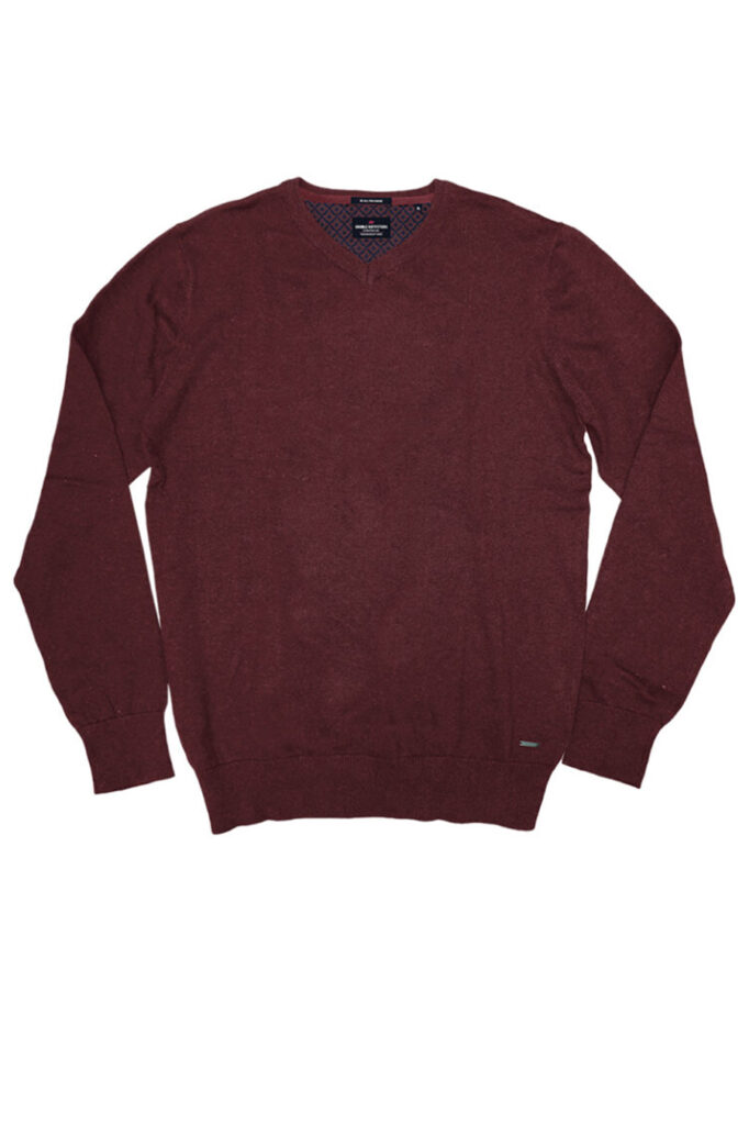 DOUBLE OUTFITTERS Round V Neck Burgundy