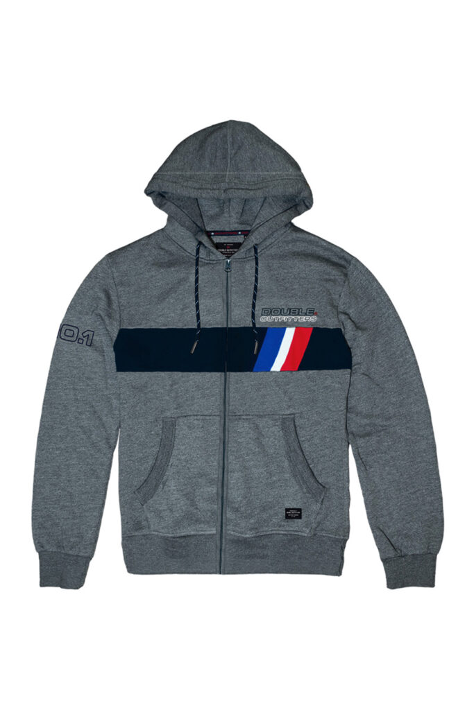 DOUBLE OUTFITTERS Full Zip Hoodie Grey