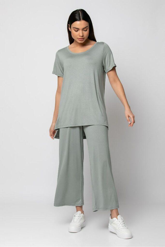 Mint-Grey Set With T-Shirt