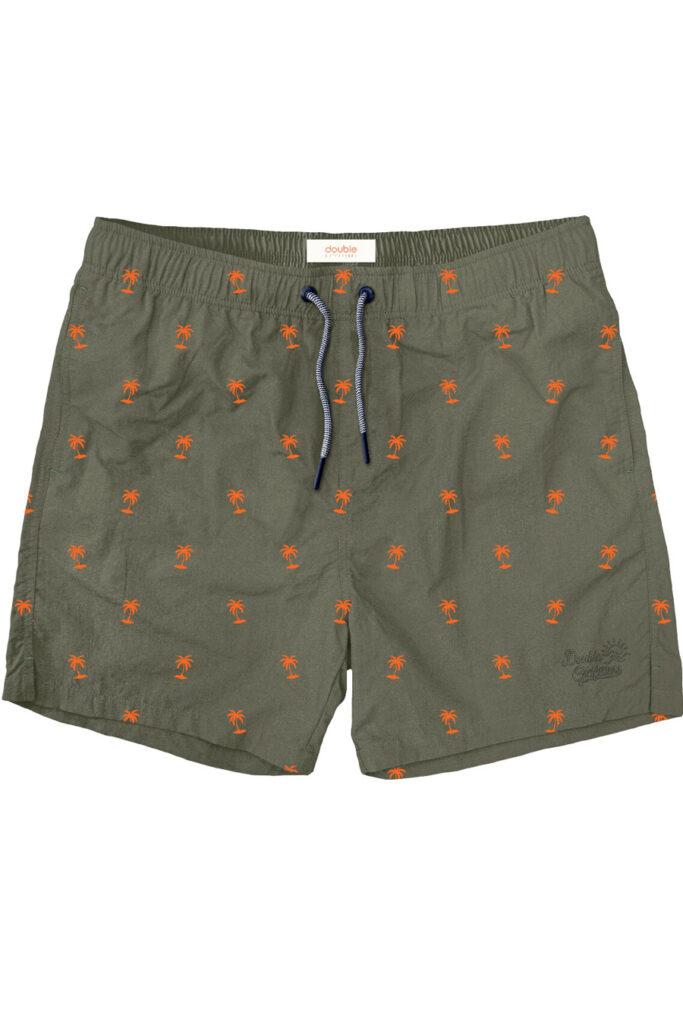 Double Outfitters Swimwear Shorts Palm Trees Khaki