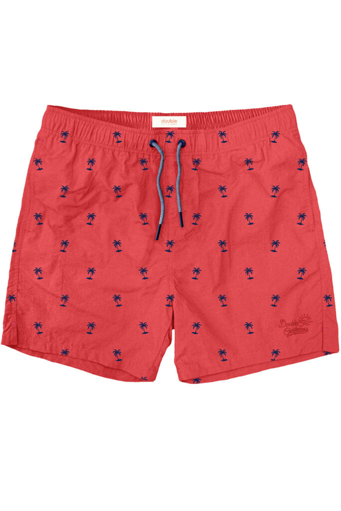 Double Outfitters Swimwear Shorts Palm Trees Red