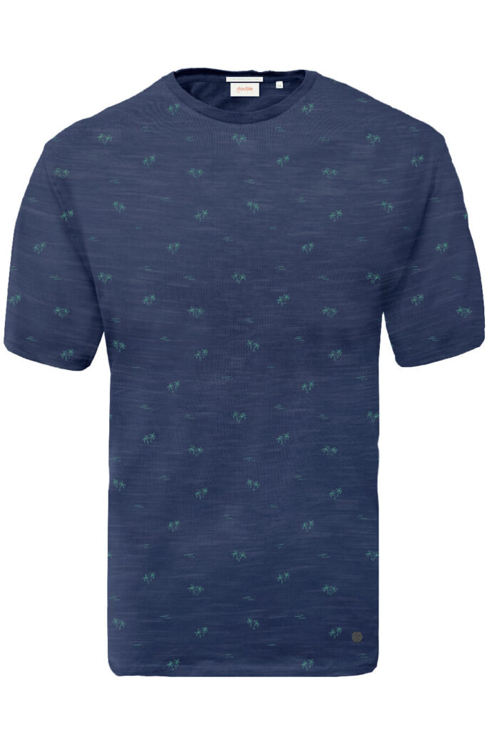 DOUBLE OUTFITTERS T-Shirt with palm trees royal blue