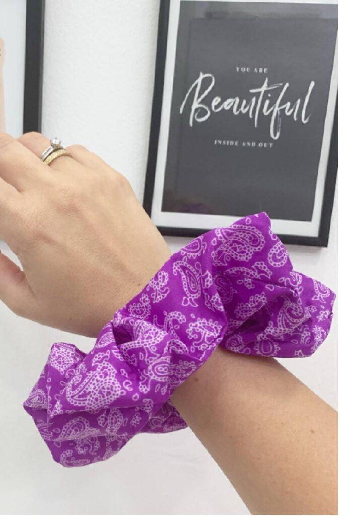 Purple Bandana Scrunchie
