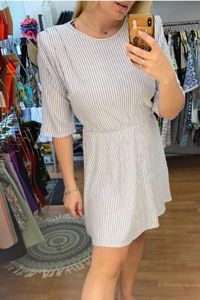 Stripes dress with shoulder pads