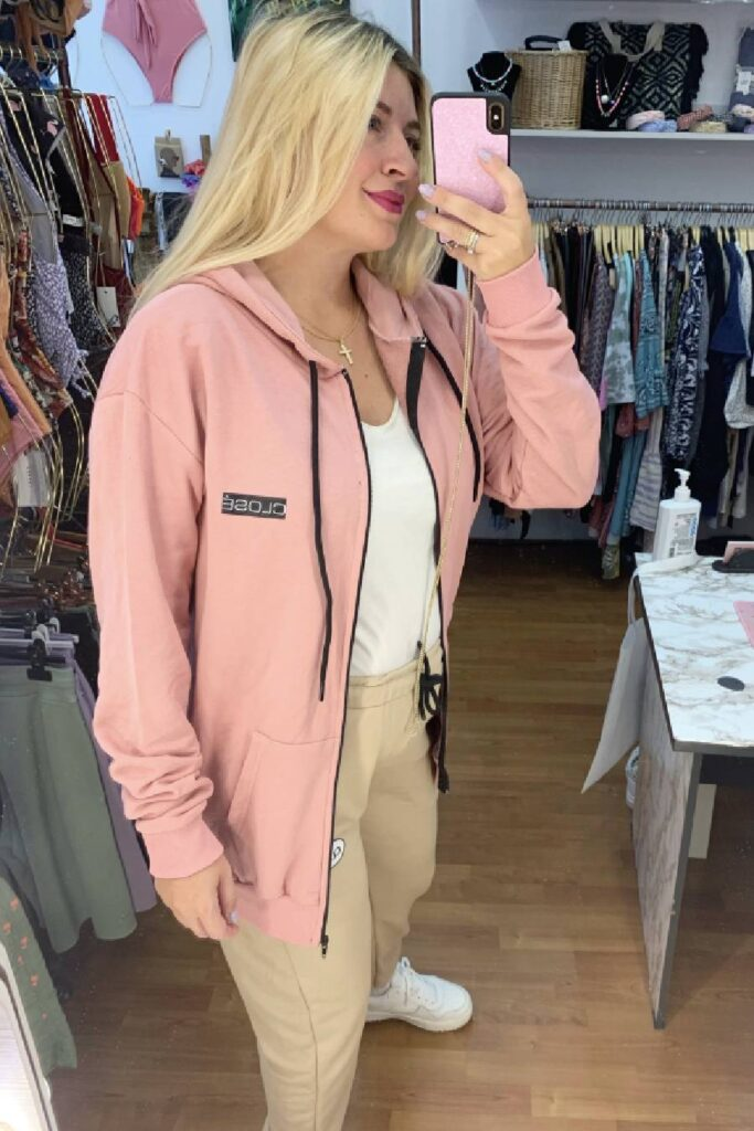 CLVSE SOCIETY SALMON ZIP HOODIE FOR HER