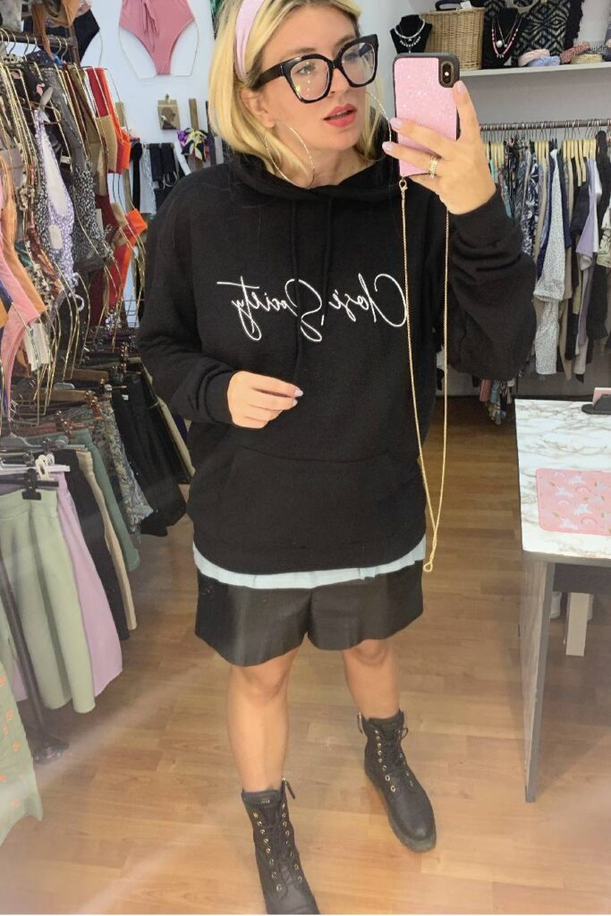 CLVSE SOCIETY BLACK CALLIGRAPHY HOODIE FOR HER