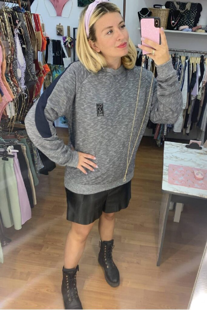 CLVSE SOCIETY BLUE CREW NECK SWEATER FOR HER