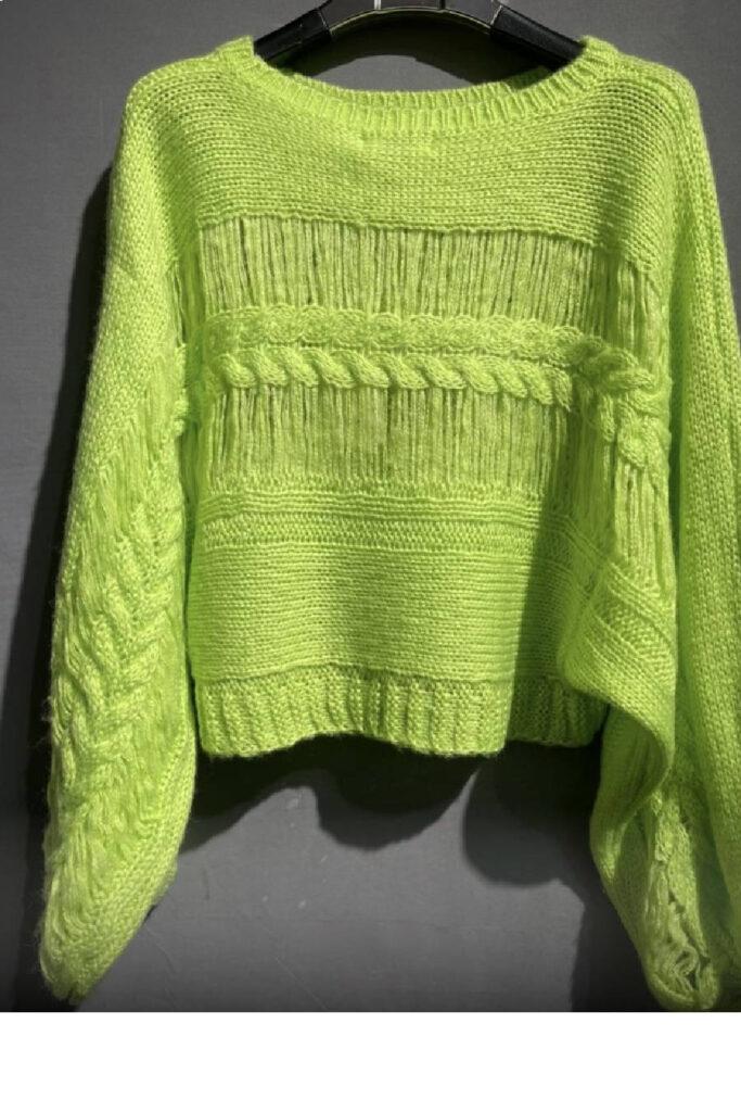 Κίτρινο πλεκτό μάλλινο πουλόβερ