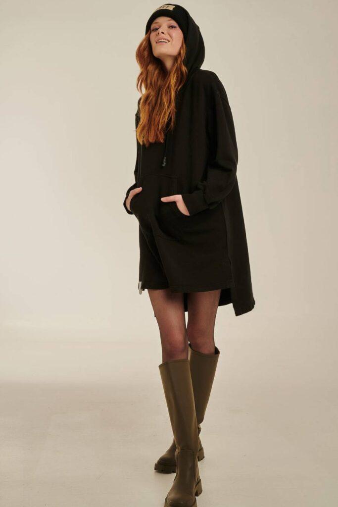 PCP Γυναικείο Φόρεμα Φούτερ Μαύρο