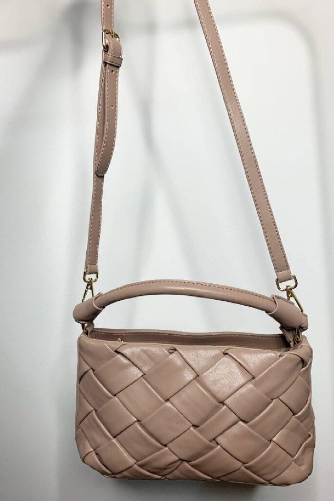 Μπέζ τσάντα με αποσπώμενο λουρί